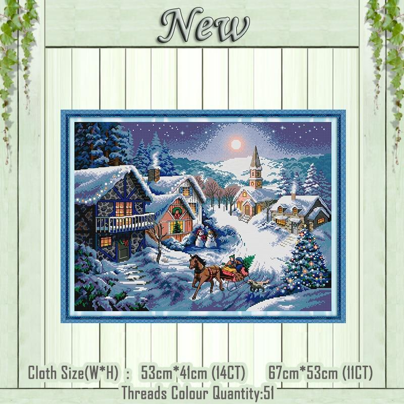 Paint 'N Crafts 11CT printed Dusk In The Snow - Cross Stitch Kit
