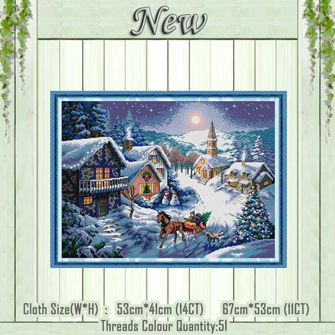 Image of Paint 'N Crafts 11CT printed Dusk In The Snow - Cross Stitch Kit