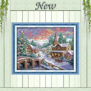 Paint 'N Crafts 11CT printed Snowscape - Cross Stitch Kit