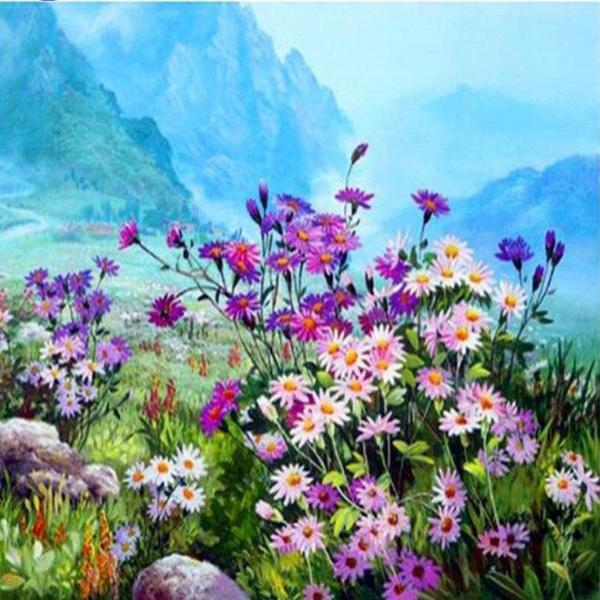 Paint 'N Crafts 12x16'' (30x40cm) Flowers Field - Diamond Painting Kit