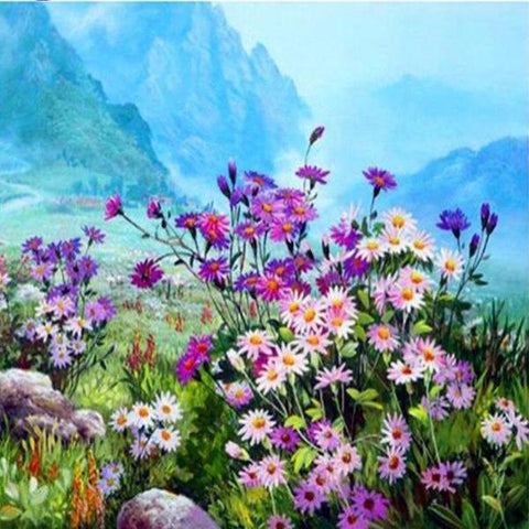 Image of Paint 'N Crafts 12x16'' (30x40cm) Flowers Field - Diamond Painting Kit