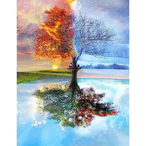 Image of Paint 'N Crafts 12x16'' (30x40cm) Four Seasons Tree - Diamond Painting Kit