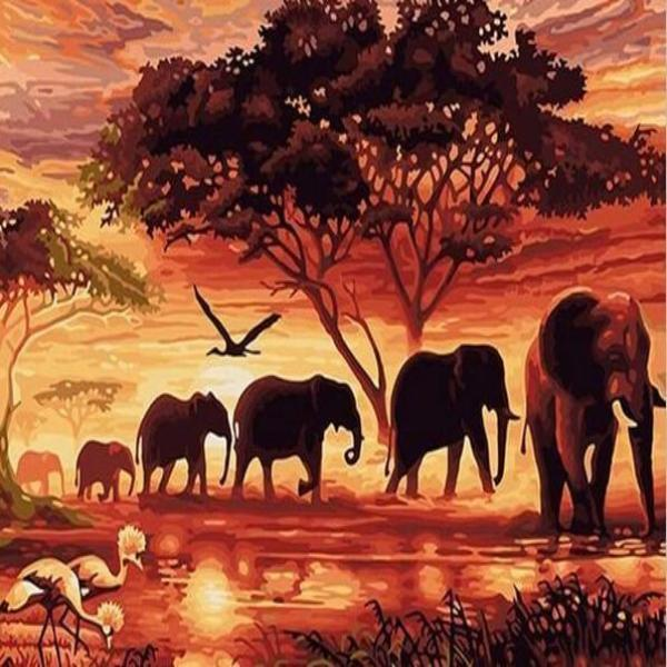 Paint 'N Crafts 12x16'' (30x40cm) Travel Through Savannah - Diamond Painting Kit