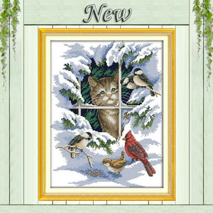 Paint 'N Crafts 14CT 30x37cm Cat And Birds - Cross Stitch Kit