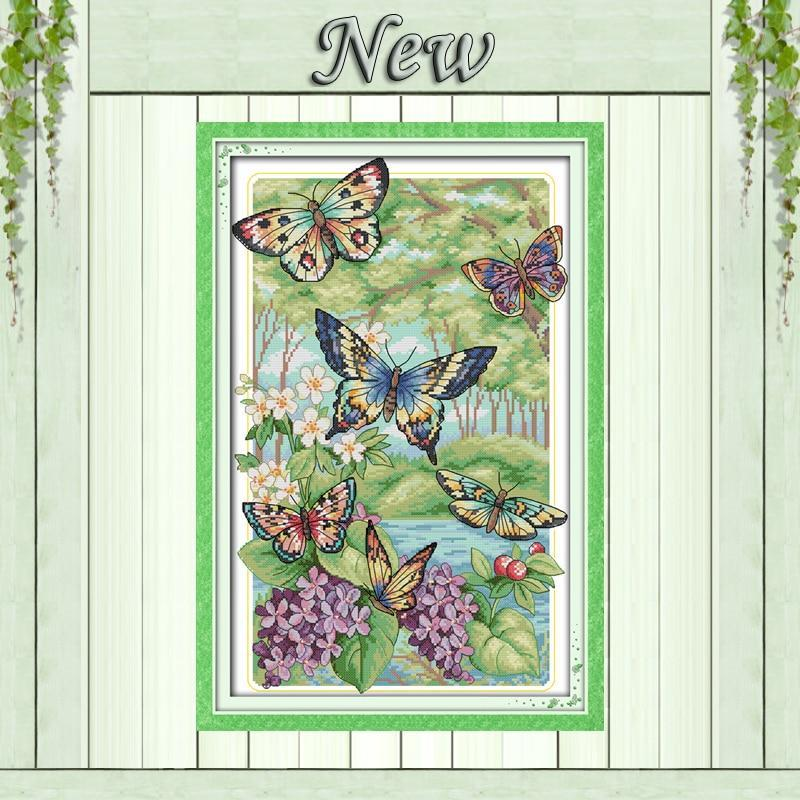Paint 'N Crafts 14CT 32x47cm Butterflies in the Forest - Cross Stitch Kit