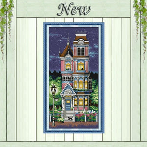 Paint 'N Crafts 14CT 34x62cm A Quiet Night Over a House - Cross Stitch Kit