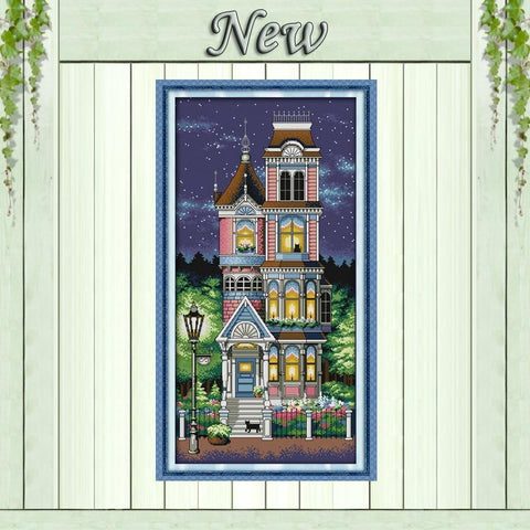 Image of Paint 'N Crafts 14CT 34x62cm A Quiet Night Over a House - Cross Stitch Kit