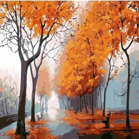 Paint 'N Crafts 16x20'' (40x50cm) Autumn Rainy Road - Paint by Numbers Kit