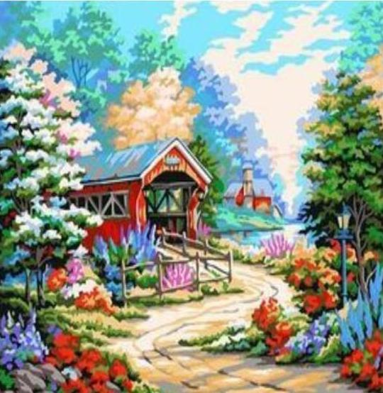 Paint 'N Crafts 16x20'' (40x50cm) Colorful Country Garden - Paint by Numbers Kit
