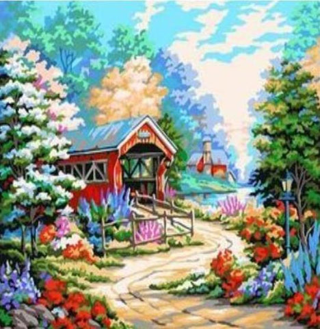 Image of Paint 'N Crafts 16x20'' (40x50cm) Colorful Country Garden - Paint by Numbers Kit