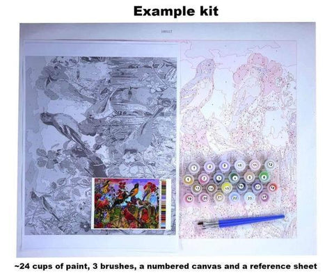 Paint 'N Crafts 2 Pieces 16x20'' (40x50cm) White Flowers - Paint by Numbers Kit