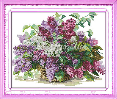 Paint 'N Crafts Lilac Flowers - Cross Stitch Kit