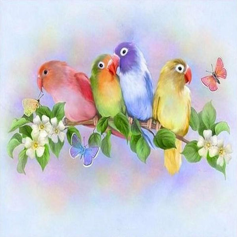 Image of Paint 'N Crafts Square Diamonds 12x16'' (30x40cm) Colorful Love Birds - Diamond Painting Kit