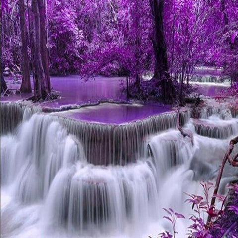 Image of Paint 'N Crafts Square Diamonds 12x16'' (30x40cm) Purple Forest Waterfall - Diamond Painting Kit