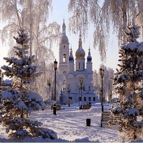Image of Paint 'N Crafts Square Diamonds 8x10'' (20x25cm) Snow Castle - Diamond Painting Kit