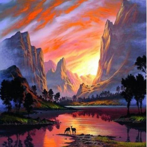 Image of Paint 'N Crafts Sunset River Valley - Paint by Numbers Kit
