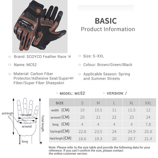Scoyco Green Motorcycle Gloves,Protective Comfortable Breathable Cycling Gloves Green,M