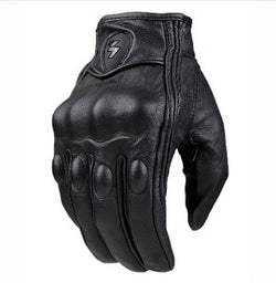 Retro Pursuit Perforated Real Leather Safety Motorcycle Gloves - Pride Armour