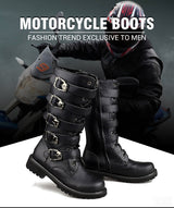 Motorcycle PU Leather Rock Mid-calf Buckle Punk Martin Boots 983 - Pride Armour