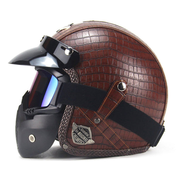 Retro Style Open Face Motorcycle Helmet - DOT Certified - Pride Armour