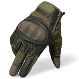 Leather Hard Knuckle Full Finger Motorcycle Gloves Protective Gear - Pride Armour