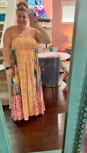 Multi Fabric Smocked Maxi Dress