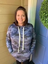 Load image into Gallery viewer, Blue Camo Lightweight Hoodie