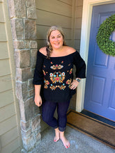 Load image into Gallery viewer, Black Embroidered Off Shoulder Boho Blouse