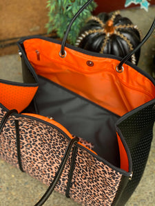Leopard Neoprene Tote Bag and Pouch