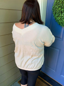 Beige Double V Thermal Top