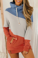 Load image into Gallery viewer, Pre-Order Asymmetrical Triple Colorblock Cowl Neck Hoodie