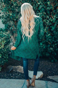 Green Knit Cardigan w/side slits