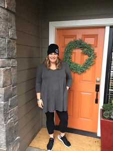 Charcoal 3/4 Sleeve V-Neck Tunic