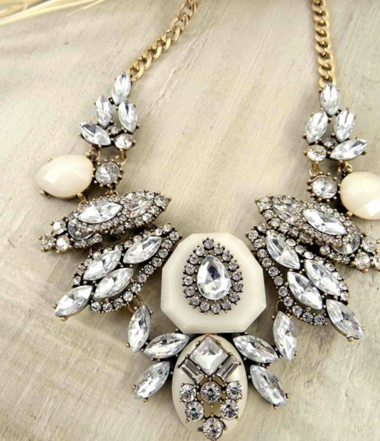 Gold & Cream Dream Bling Necklace