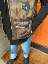Load image into Gallery viewer, Camo Puffer Vest with Gold Accents