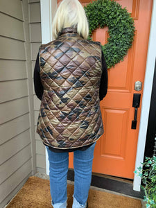 Camo Puffer Vest with Gold Accents