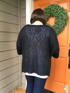 Black Pullover Sweater with Kangaroo Pocket