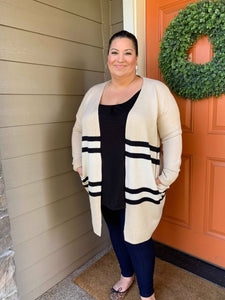 Cream and Black Color Block Cardigan