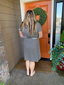 Black & White Stripe Wrap Front Dress
