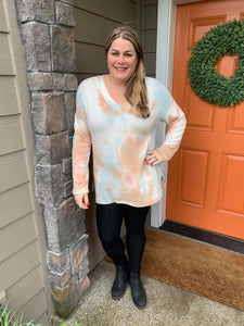 Soft Tie Dye V-Neck Pastel Mix Tunic