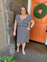 Load image into Gallery viewer, Black & White Stripe Wrap Front Dress