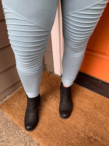 Blue Grey Moto Leggings