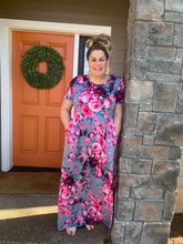 Load image into Gallery viewer, Grey & Pink Floral Maxi Dress