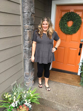 Load image into Gallery viewer, Charcoal Tiered Tunic with Short Sleeves