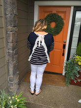 Load image into Gallery viewer, Navy & White Stripe Ruffle Top