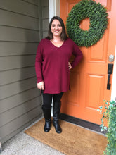 Load image into Gallery viewer, Burgundy V-Neck High Low Sweater with Side Slits