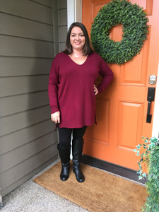 Burgundy V-Neck High Low Sweater with Side Slits