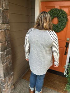 Heather Grey Tunic with Black & White Stripe Sleeves