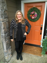 Load image into Gallery viewer, Black w/ White Stripes Long Sleeve Snap Cardigan