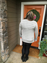 Load image into Gallery viewer, Heather Grey w/ White Stripes Long Sleeve Snap Cardigan